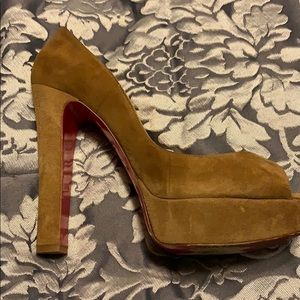 Christian L taupe suede shoes